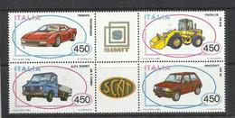 ITALY REPUBLIC ITALIA REPUBBLICA 1986 COSTRUZIONI AUTOMOBILISTICHE ITALIANE AUTO CARS BLOCK BLOCCO MNH - Blocchi & Foglietti