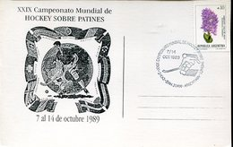 21643, Argentina Special Card And Postmark San Juan 1989,world Roller Rink Hockey Champ