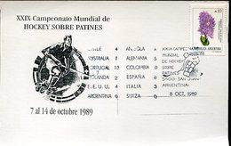 21644, Argentina Special Card And Postmark San Juan 1989,world Roller Rink Hockey Champ