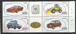 ITALY REPUBLIC ITALIA REPUBBLICA 1986 COSTRUZIONI AUTOMOBILISTICHE ITALIANE AUTO CARS BLOCK BLOCCO MNH
