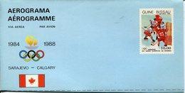 21659  Guinea Bissau, Aerogramme For The Olympiade Of Sarajevo, 1988,  , Eis Hockey,  Hockey On Ice