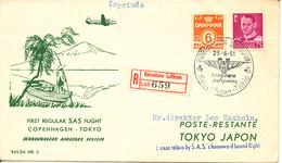 Denmark First SAS Flight Copenhagen - Tokyo 25-4-1951 Registered Cover (the Cover Is Light Bended) - Dänemark