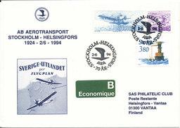 Sweden Cover ABA 70 Th Anniversary Aerotransport Stockholm - Helsingfors 2-6-1994 With Cachet - Sweden
