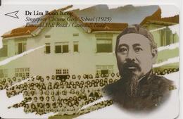 CARTE-MAGNETIQUE-1990 -SINGAPOUR-DR LIM BOON KENG-1925-ECOLE CHINOISE DES FILLES-BE - Singapour