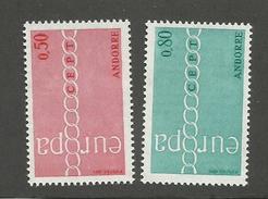 ANDORRE FRANCAIS - N°YT 212/13 NEUFS* AVEC CHARNIERE - COTE YT : 50€ - 1971