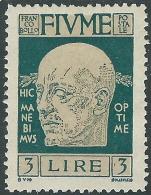 1920 FIUME D'ANNUNZIO 3 LIRE MH * - F12-6 - 8. Occupazione 1a Guerra