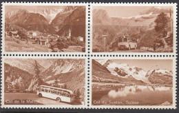 Probedruck Der PTT Schweiz, Specimen, 4erBlock, ZDr., Soglio, Malojapass, Simplonpass, Sustenpass, Postbus - Blokken