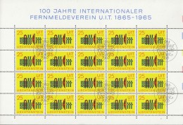 LIECHTENSTEIN  458, Schalterbogen (5x4), Gestempelt,100 Jahre UIT 1965