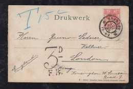 Netherlands 1906 Postcard HAARLEN To London Postage Due - Periode 1891-1948 (Wilhelmina)