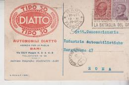 Regno 10/9/1928 Cartolina Pubblicitaria Bari Automobili Diatto Tipo 30 - Storia Postale