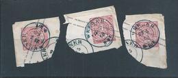 Weener.Deutschland.Drei Fragment Briefpapier Ausgelöscht Karten Weener 1863.Three Fragment Of Stationery Charts.