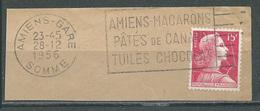Flamme Sur Fragment 80 AMIENS GARE 1956 Amiens Macarons Patés De Canard Tuiles Chocolat - Marcophilie (Timbres Détachés)