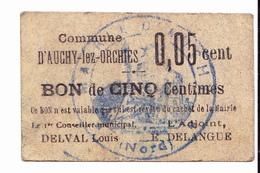 BON De 5c Commune D'AUCHY-lez-ORCHIES 14-18 - Bons & Nécessité
