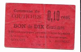 BON De 10c Commune De COUTICHES 14-18 - Bons & Nécessité