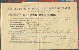 Bulletin D'adhésion Au 1er Janvier 1903 à La Société De Dotation De La Jeunesse De France, 71 Rue De Grenelle à Paris - Documents Historiques