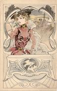 Gaston NOURY - Jeune Femme à La Robe Rouge, Au Chapeau Noir Et Au Coffret Aux Deux Colombes, Style Art Nouveau - Illustrateurs & Photographes