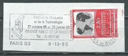Flamme Sur Fragment 75 PARIS 05 1985 Festival De L'industrie Et De La Technologie - Marcophilie (Timbres Détachés)