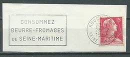 Flamme Sur Fragment 76 ROUEN GARE 1956 Consommez Beurre-fromages De Seine Maritime - Marcophilie (Timbres Détachés)