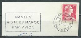 Flamme Sur Fragment 44 NANTES R.P. 1957 Nantes à 5h Du Maroc Par Avion - Marcophilie (Timbres Détachés)