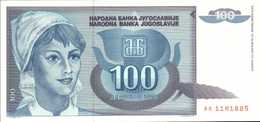 YOUGOSLAVIE 100 DINARA  De 1992  Pick 112  UNC/NEUF - Yougoslavie