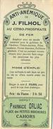 1 Etiquette Ancienne De Pharmacie - ANTI ANEMIQUE - PHARMACIE FILHOL ORLIAC, PLACE DES PETITES BOUCHERIES - CAHORS - Labels