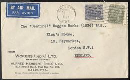 1937 Flight Cover India Calcutta Vickers Agents To Sentinel Haymarket England