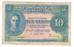 Malaya 10 Cent , 1941, VF. Free Ship. To USA. - Malaysie