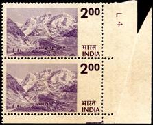 CLIMBING-MOUNT EVEREST-BASE CAMP-ERROR-MARGINAL PAIR WITH DOG'S EARS-RARE-INDIA-WMK-MNH-D4-13