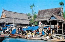 [DC10088] CPA - TAILANDIA THAILAND - DHONBURI - WAD SAI FLOATING MARKET - Non Viaggiata - Old Postcard - Tailandia
