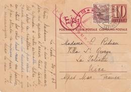 CARTE POSTALE SUISSE.  26 7 1943. LOCLE POUR NICE. + 3 CACHETS ROUGES CENSURE - Suisse