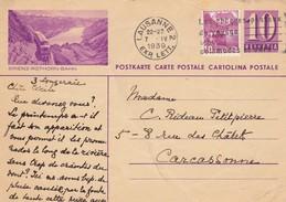 CARTE POSTALE SUISSE.  7 4 1939. ENTIER 10 BRIENZ-ROTHORBAHN.  LAUSANNE POUR CARCASSONNE - Suisse