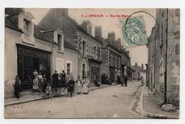 Carte Postale Onzain Rue Des Rapins CPA 1908 Commerces Boulangerie Draperie - France
