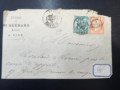 FRANCE - Fragment D'Enveloppe Avec Sage N° 65 + Cérès N° 38 - 25 Janvier 1877 - 1876-1878 Sage (Type I)