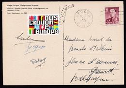 Norway: PPC Picture Postcard To Belgium, 1962, 1 Stamp, Cinderella Europe, Card: Harbour Bergen (traces Of Use) - Brieven En Documenten