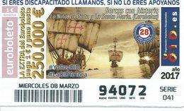 Spain Lottery Ticket OID - Navy  Ships With History - Columbus Caravelles Santa Maria , Pinta, Niña - Loterijbiljetten