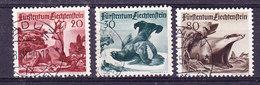 Liechtenstein 1950 Jagd III 3v Used (Ca Vaduz & Balzers) (35668)