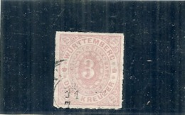 Allemagne - WURTTENBERG -  N 38 --- 3 Rose Pâle Côte 2€ - Wuerttemberg