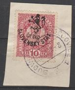 Tchécoslovaquie 1918, Obliteré Sur Fragment, Emision Locale, Non Signé