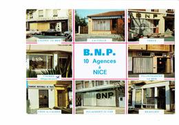 Cpm Publicité Banque B.N.P. Agences à NICE Cagnes Sur Mer VENCE VILLEFRANCHE BEAULIEU CROS ST LAURENT Du Var LA COLLE - Nice