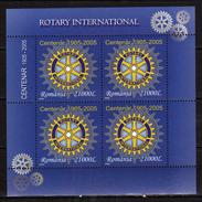 Romania 2005 The 100th Anniversary Of The Rotary International.Mi - 5903.M/S.MNH