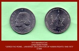 "E1894 Medallion/Coin (1973) Obverse - ""CERES FAO ROME - OLAVE BADEN-POWELL""... (Girl Guides) - United Kingdom"
