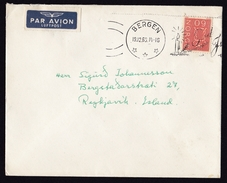 Norway: Airmail Cover Bergen To Iceland, 1966, 1 Stamp, Air Label, Christmas Cancel, Candle (traces Of Use) - Noorwegen