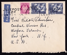 Norway: Airmail Cover To USA, 3 Stamps, Goose, Bird, Posthorn, Air Label (roughly Opened) - Noorwegen