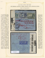 Flugpost Übersee: 1942: War Time Air Mail From Burma To South Africa. Two Covers Monted On Pages. First Cover From