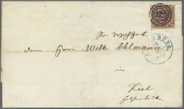 Dänemark: 1852, Freimarke 4 S. Rotbraun Auf Kleinem Faltbrief Von Oldenburg Nach Kiel, Entwertet Mit Nummern-Stempe