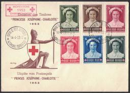 "JP239   Belgie - Belgique FDC 912/917 Prinses Joséphine-Charlotte 1953 "" Croix Rouge / Red Cross "" - 1951-60"