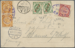 """China: 1902, Coiling Dragon 1 C. (2), 2 C. Tied Blue Oval Bilingual """"CHINAN 7-OCT 1903"""" In Combination With Russian Offi"""