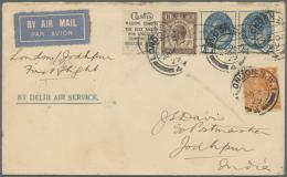 Großbritannien: 1929, First Flight LONDON-JODHPUR/INDIA Airmail Letter With Three Halfpence Brown Se-tenant Pair A