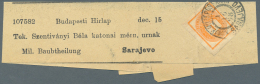 Bosnien Und Herzegowina - Besonderheiten: 1898 (1.10.), Ungar. Zeitungsmarke 1 Kr. Orange (Briefmuster) Auf Streifband B