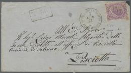 """Italienische Post In Der Levante: 1868, Ital. 60 C. Mit Nummernstempel """"234"""" Auf Brief Von Alexandrien Nach Pisciotta, T"""